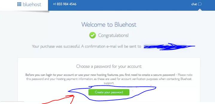 bluehost password select