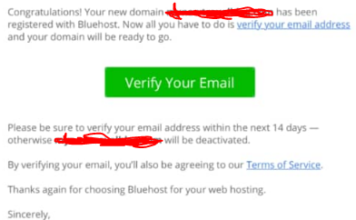 verify your email bluehost signup