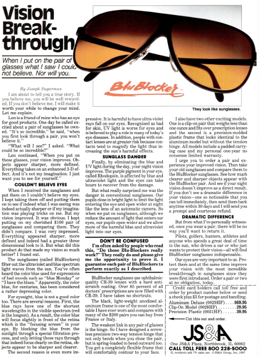 joe sugarman copywriting ad sunglasses